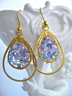 Lavender Special Occasion Handmade Swarovski Crystal and Gold Vermeil Earrings. via Etsy.