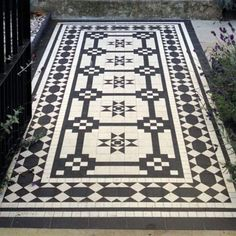 tile like a rug.  this would look so great in our pergola | via Victorian Floor Tile Design Catalogue | Contemporary Geometric Floor Tile Designs | London Mosaic