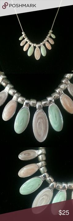 Vintage enameled drops necklace Silver plated and frosted pastel enameled drops on a thin snake chain. The colors are honeydew, cantelope, & light plum. Jewelry Necklaces