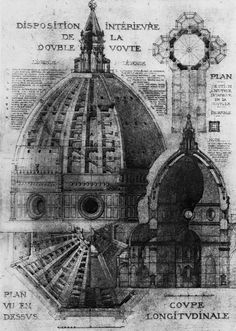 Santa Maria del Fiore Cupola, Schematic plan and view, Eugéne Duchesne (Moyen Age et Renaissance, Vol.II, ed. D'Espouy, 1925)
