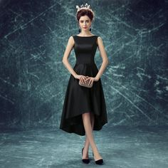 Tee Length Short in Front Long in Back High Low Black Evening Dresses