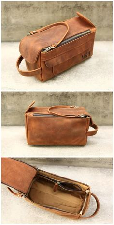 Groomsmen Gifts Men Leather Toiletry Bags Monogram Dopp Kits Personalized Leather Travel Kits Shave Board: Men's Grooming Leather Gifts, Leather Men, Leather Bags Handmade, Brown Leather, Leather Bag Pattern, Dopp Kit, Leather Projects, Wash Bags, Toiletry Bag