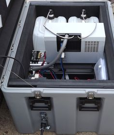 Nevada Solar Designs power portfolio continues to grow. This SFC ProEnergyBox offers: Military grade transport case 2400w EFOY methanol fuel cell, 12 or 24vdc battery bank. Dual Class 31 battery and M28 cartridge capacity. Automatic battery and load bank maintenance.  Remote monitoring interface.  Supplemental solar power  recharge input. Lockable, dual handles, ultimate portable turnkey power plant for remote, special event, emergency and covert operational missions. Wireless Security, Security Camera, Methanol Fuel, Off Grid Solar Power, Surveillance Equipment, Desert Homes, Lead Acid Battery, Alternative Energy, Special Events