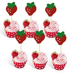 Strawberry Shortcake Party Supplies, Strawberry Shortcake Birthday, Strawberry Baby, Strawberry Cupcakes, Girl Birthday Cupcakes, 1st Birthday Party For Girls, Themed Cupcakes, First Birthday Cakes, Birthday Ideas