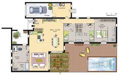 Plan habillé Rez-de-chaussée - maison - Maison de plain-pied 6