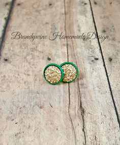 TWO PAIR LEFT, St. Patricks Day Earrings, Pot of Gold Druzy Earrings, Luck of the Irish, 12 mm Druzy, Druzy Studs, Affordable Jewelry, Earth Jewelry by BrandywineHD on Etsy