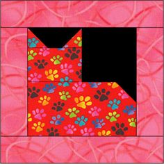 "Cat Quilt Patterns | Quilt Blocks: 12"" Square Cat Quilt Block Pattern"