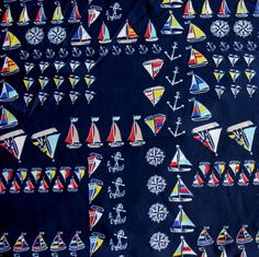 Colorful Sailboats, Anchors, and Compass Roses Nylon Lycra Swimsuit Fabric