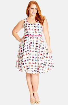 City Chic 'Flower Study' Fit & Flare Dress (Plus Size) available at #Nordstrom