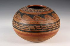 """NATIVE AMERICAN POTTERY - 19th c. Zuni Terra Cotta Polychrome Olla in ovoid form with medium-sized mouth, having tiered bands of geometric designs. 6 1/2"""" tall, 8"""" diam."""