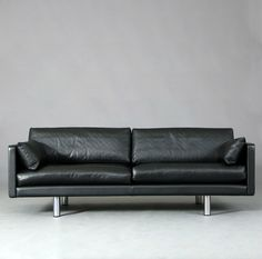 Erik Jørgensen; #EJ220 Leather and Steel Sofa, 1970s.