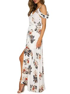 3dae886a6054 Simplee Apparel Women's Strap Ruffle Cold Shoulder Floral Print Wrap Maxi  Dress Beach at Amazon Women's Clothing store: Summer Formal DressesVintage  ...