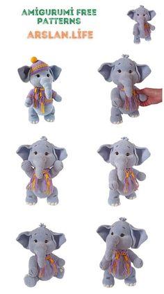 Cute Elephant, Free Crochet, Crochet Patterns, Teddy Bear, Amigurumi, All Free Crochet, Crochet Pattern, Teddy Bears, Crochet Tutorials