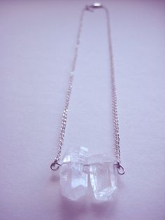 2 chunky Quartz crystal points strung with silver chain, joined with lobster clasp. Necklace Measures: inches Ships in jewelry box and protective bubble envelope. Quartz Crystal Necklace, Pearl Necklace, Bubble Envelopes, Jewelry Box, Necklaces, Pure Products, Pearls, Chain, Crystals