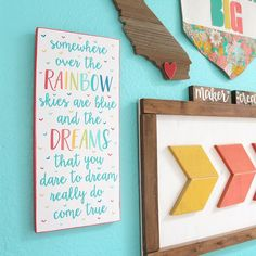 """242 Likes, 10 Comments - Just Add Sunshine--Katie Sabin (@justaddsunshineinc) on Instagram: """"This new, longer version of my """"somewhere over the rainbow"""" sign is listed in the shop! Those…"""""""