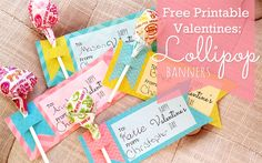 Free Valentine's Day Printables - Lollipop Banner