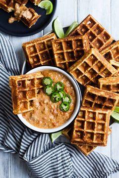 Cheddar Jalapeno Cornbread Waffles with Turkey Chile Con Queso Dip {gluten-free}