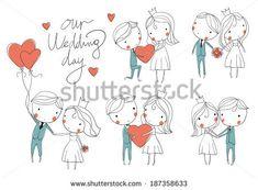 Wedding card. Bride and groom