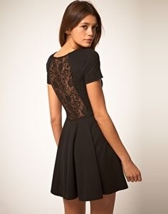 Lace Back Dress with Skater Skirt