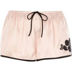 River Island Blush pink floral applique pyjama shorts (1,585 PHP) ❤ liked on Polyvore featuring intimates, sleepwear, pajamas, lingerie & sleepwear, pajamas / loungewear, pink, women and river island