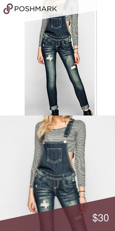 ALMOST FAMOUS PREMIUM DENIM OVERALLS These are super cute with skinny style and factory distressed rips down the front. Front and Back pockets...Never worn and they fit true to size. More pics coming of back Almost Famous Jeans Overalls