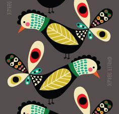 Bird Graphic, flat color print