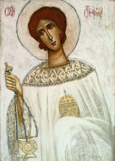 St Stephen the Martyr and Deacon Byzantine Icons, Byzantine Art, Religious Icons, Religious Art, Julian Of Norwich, Saint Stephen, Religious Paintings, Art Icon, Orthodox Icons