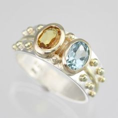 Custom Made 2 Stone Oval Wrap Mother Ring 14ky, Ss