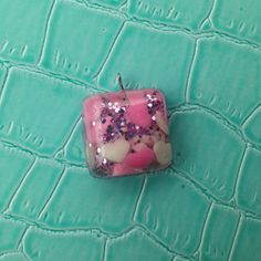 Square Candy Heart & Glitter Pendant on Etsy, $10.00