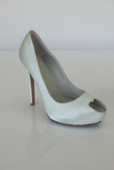 Alexander McQueen Heart Peep Toe Pump (Mint Satin Green), bride, bridal, wedding shoes, bridal shoes, wedding, bride shoes