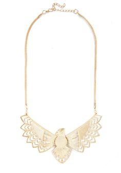 Whimsical Wingspan Necklace. Adorn your striking party look with this remarkable gold bird necklace. #gold #modcloth