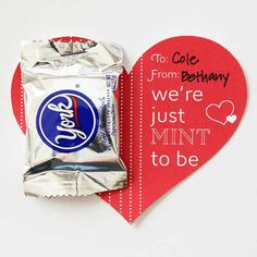 An adorable York Peppermint Paddy valentine! Free label available here: http://www.bhg.com/holidays/valentines-day/cards/valentines-day-cards-with-candy/#page=7