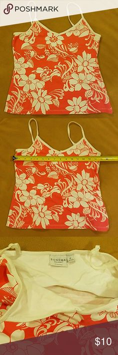 Coral and white tank with adjustable straps Very nice used condition.  Bundle up and save. Sonoma Tops Tank Tops
