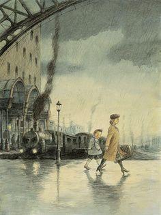 Illustration by Maurizio Quarello – from 'Mio padre il grande pirata / My father the great pirate' (written by Davide Cali)