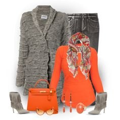 Orange and Grey for Fall by chicgemologist on Polyvore featuring polyvore, fashion, style, Lauren Ralph Lauren, Lainey Keogh, MICHAEL Michael Kors, Sam Edelman, Hermès and Tom Ford