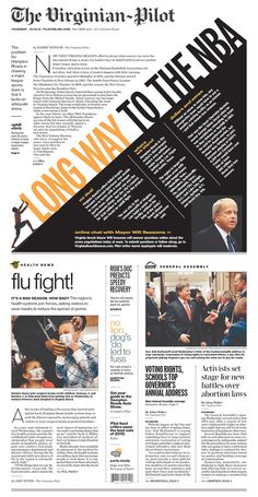 Terrific Norfolk Virginian-Pilot page design on failure to get a NBA team to the area