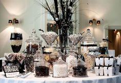 Black and white candy dessert buffet    candy buffet company