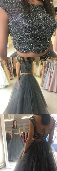 ball gown, two piece prom dresses, beaded grey long prom dresses, 2018 prom