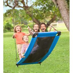 Our SkyCurve Platform Swing is a fantastic hanging swing for kids! Hang this curved swing outdoors and the fun will begin. You won't find a better rope swing! Backyard Toys, Backyard For Kids, Backyard Zipline, Backyard Ideas, Backyard Landscaping, Outdoor Toys, Outdoor Fun, Kids Outdoor Play, Outdoor Games