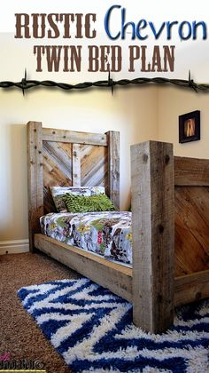 Build a barn-wood twin bed with a rustic chevron pattern! FREE plans at HerToolBelt.com