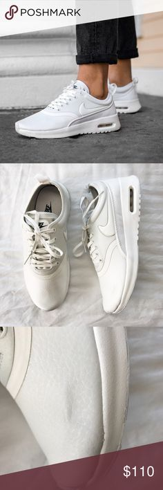 Nike White Air Max Thea Ultra Premium Sneakers •The Nike Air Max Thea Ultra Premium Women's Shoe updates the iconic running profile for everyday comfort. Premium leather and textile upper.  •Women's size 7, runs narrow.  •New in box (no lid).  •NO TRADES/HOLDS/PAYPAL/MERC/VINTED/NONSENSE. Nike Shoes Sneakers