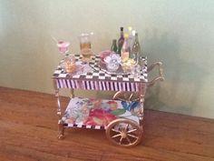 My Mackenzie Childs inspired bar cart for my dollhouse