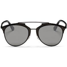 Dior 'Reflected' acetate temple metal veneer aviator sunglasses (€370) ❤ liked on Polyvore featuring accessories, eyewear, sunglasses, glasses, óculos, black, metal aviator sunglasses, christian dior, metal sunglasses and metal glasses