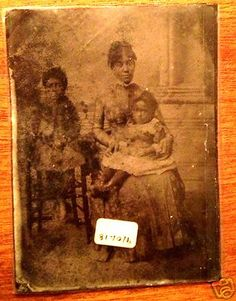 1865 Civil War Era Tintype of African American Lady Dress Kids Baby House | eBay