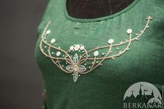 Купить Средневековое платье «Лесная фея» - однотонный, цвет натурного льна, зеленый, коричневый, лён