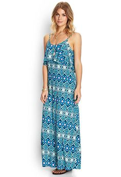 Travel the globe in this Ikat maxi dress, which features a flounced top and adjustable shoulder s...
