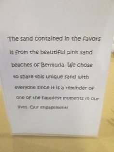 Bermuda sand in the favors. A reminder of their engagement. How sweet!  #wedding #capriottiscatering Capriottis Palazzo