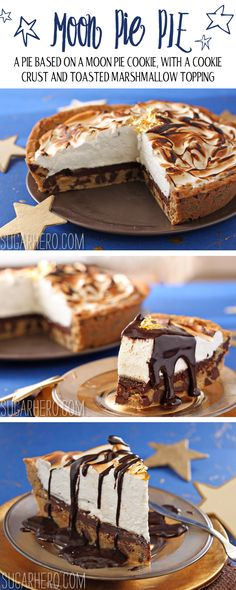 Moon Pie Pie: this crazy good pie is based on moon pie cookies. It has a chocolate chip cookie crust, toasted marshmallow, and LOTS of chocolate sauce on top! | From SugarHero.com