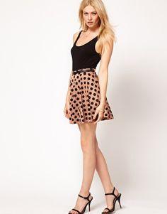 Pair this with a striped shirt to bring it up to date. #TheFrisky.com via asos.com Rare Belted Spot Skater Skirt