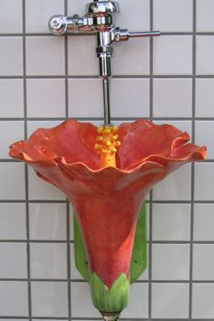 A fully-functional hibiscus urinal!